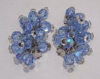 Blue Aurora Borealis Crystal Clip Earrings