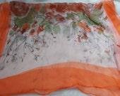 Stunning Soft & Silkie Scarf-Orange Floral-SC259