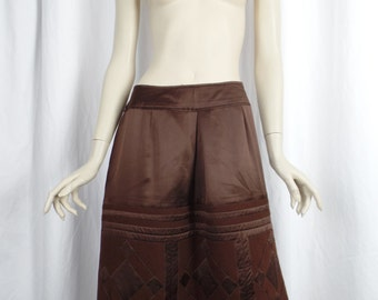 90s Alberta Ferretti coffee bean brown pencil skirt/quilted geometric tone on tone pattern silk + wool: size IT 46 = US 10 -12+
