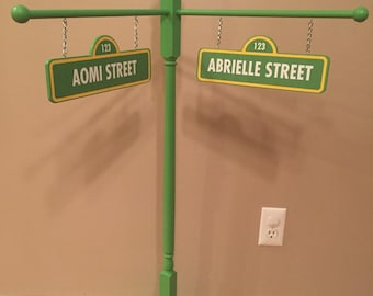 Double Name/Double Sided Sesame Street Inspired Street Sign - birthday/room decor - photo prop