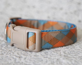"Orange & Blue Plaid Collar, 1"" wide, available in M, L, XL"