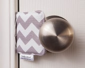 The Original Cushy Closer Door Cushion - Gray & White Chevron-Door Jammer