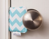 The Original Cushy Closer Door Cushion - Aqua & White Chevron