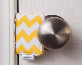 The Original Cushy Closer Door Cushion - Yellow & White Chevron - Door Jammer