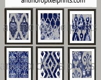 Watercolor Navy Indigo Grey White Damask Wall Art - Set of (6) Prints  8x10 Prints - Custom Colors Sizes Available (UNFRAMED) #125653809