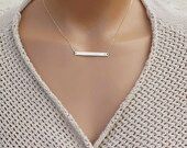 Skinny Bar Necklace / Personalized Gold Bar Necklace / Name Plate Necklace / Ultimate Bar Necklace, Silver Bar, Rose Gold, Initial Necklace