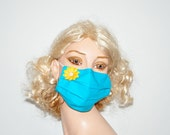 Flu mask, cotton mask, reusable, yellow flower application, surgical mask, mouth protection, by Mouthshutters