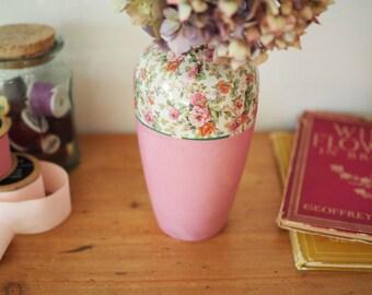 Vintage Floral China Vase - Pink Floral Vase