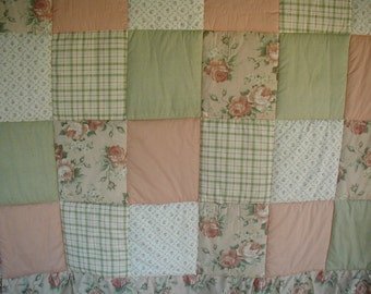 Vintage Shabby Cottage Style Bedspread, Patchwork, with Ruffle and Attached Bed Skirt
