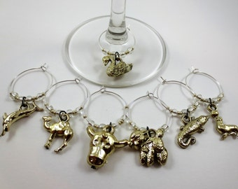 Vintage Gold Gumball Animal Charm Wine Charms