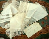 Vintage Wedding Hankie Collection, 3 Lace Handkerchiefs, Bridal Party