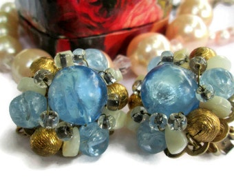 Hobe, Baby Blue and Gold Beads Crystals Hobe Earrings, Goldtone Clip On, 1950s, Shimmering Retro Statement Earrings