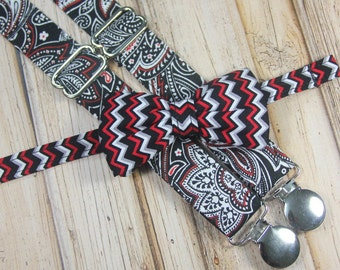Black Red Gray White Chevron Bow Tie and Paisley Suspenders set ( Men, boys, baby, toddler, infant Suspender and Bowtie) outfit