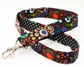 Fabric ID Lanyard, Lanyard Teacher Badge Holder, Swivel Clip Key Holder, Womens Cute Neck Strap - colorful dots and circles