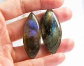 Large natural untreated labradorite marquis labradorite cabochon, purple, golden, lot of two, 46mm x 18mm, 47mm x 20mm, natural flashy stone