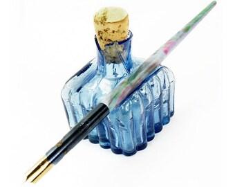 Antique Victorian Blue Glass Ink Bottle with Cork Stopper & Mottled Dip Pen