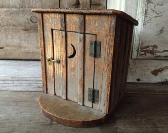 Folk Art Wood Outhouse, Double Seater, Handcrafted, Antique Rustic Americana, Cabin Cottage Country Farmhouse Decor