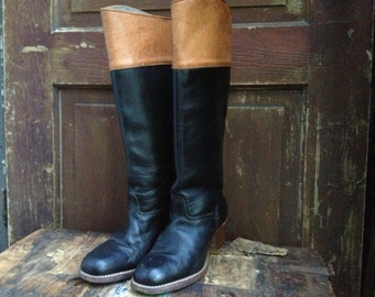 80s Leather Riding Boots Two Tone Black and Tan Brown Ladies Boots