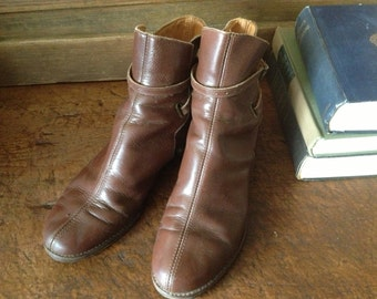 Brown Leather Ankle Boots Harness Equestrian Riding Ankle Boots Size 7,5  8 US