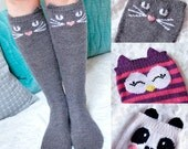 Check Meowt! Cat, Owl, and Panda Knee High Animal Socks KNITTING PATTERN in Girls and Adult Sizes