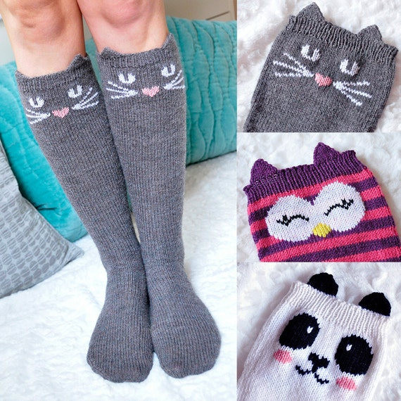 Knee High Socks Knitting Pattern : Check Meowt Cat Owl and Panda Knee High Animal Socks