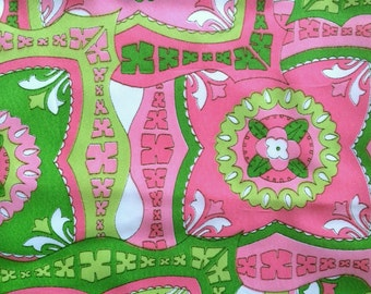 Cute Vintage Mod Fabric Bright Neon Lime Green and Hot Pink Psychedelic Flowers Graphic Retro BoHo Floral Print By the Yard Cute Bright Fun