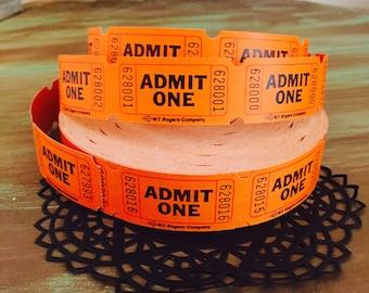 Halloween Tickets / 100 Vintage Orange Admit One Tickets / Carnival Raffle Birthday Tickets ORANGE Admit One