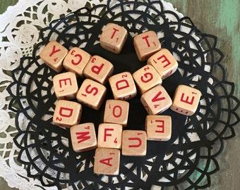 SCRABBLE RSVP Cubes /10 Vintage Scrabble Letter Cubes / Vintage Wooden Game Pieces