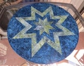 Quilted Table Topper Blue Green Batik 593