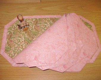 Quilted Placemats Ferns Pink and Green 143