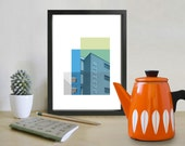 Architecture Poster, Retro Bauhaus Poster, Bauhaus building montage, Gropius Architectural Print, Mid century Modern, blues, greens,