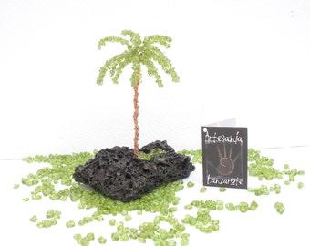 Natural Gemstone Peridot Olivine Canary Islands Palm Tree, Gemstone Wire Tree Sculpture