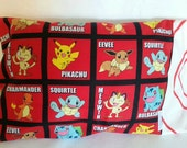 """Red cotton travel pillowcase featuring pokemon characters 12""""x 16"""""""