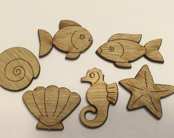 6 piece sea life wood cut outs, 22-32 mm (37)