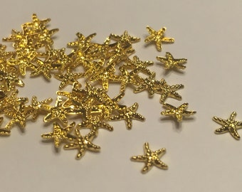 10 pieces of gold metal Starfish nail decor, 5 mm (S11)