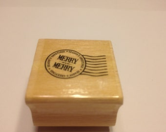 Merry Merry rubber stamp, 25 mm (BB6)
