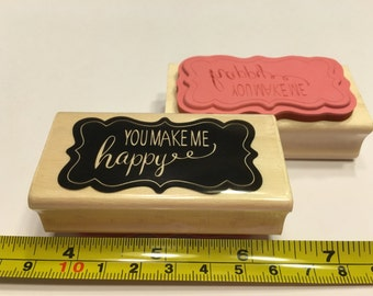 you make me happy rubber stamp, 60 mm (BB)