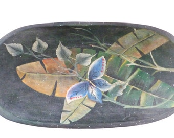 Vintage Wood Bowl, Boho Bowl, Hand Painted Tropical Design, Dark Painted Oval Wooden Bowls, Pastel Flowers