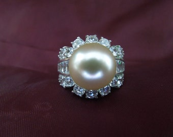 Vintage Costume Ring, Silver Toned with Large Faux Pearl and Rhinestones.  Size 10.  Stunning.