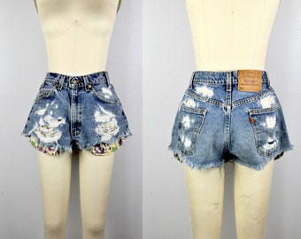 Distressed Shorts LEVIS Shorts Ripped Shredded Torn Frayed HIGH Waist Very Short Micro 80s 90s Boho Hippie Festival Beach Summer size 32 S M