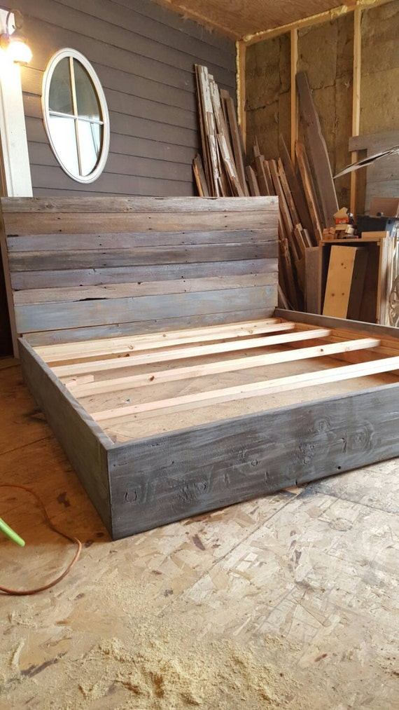 The Michelle Grey Weathered Reclaimed Barn Wood Bed By