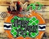pumpkin, pumpkin door hanger, fall decor, happy fall yall, fall hanger, fall wreath, wreath, door hanger, door hangers, fall