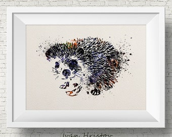 Abstract Hedgehog Watercolor hedgehog painting illustration hedgehog Art Print  Gift Poster Giclee Wall Decor Art Home Decor Wall Hanging