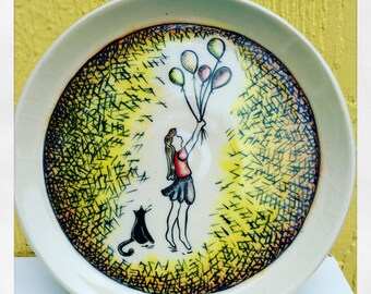 """7"""" Ceramic Cake Plate-Ceramic Art Plate-Handmade Ceramic Plate, Birthday or special occasion plate,Girl with Balloons and Cat,"""