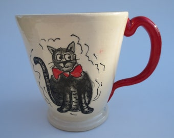 Cat Mug, Red cat mug, pottery mug, great Christmas gift,  cat art , holds approx 8 oz , dishwasherand micro safe. Ready to ship