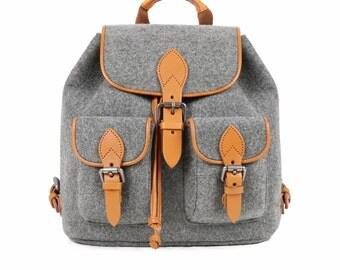 Travelling Backpack Makeup Storage Organizer Office Bag Shoulder Bag Wool Felt Daily Bag School Backpack S--Tophome