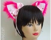 Handmade human size unique furry nekomimi / cat ears headband ~ Cyber Goth Version