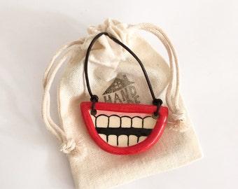 Ceramic Necklace - Smile! - Handmade Ceramic Pendant