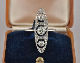 Reserved to Catherine thank you! Edwardian .85 Ct diamond all platinum rare marquee ring