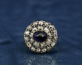 Spectacular Georgian 2.00 Ct natural sapphire and 2.40 Ct flemish cut diamond rare ring